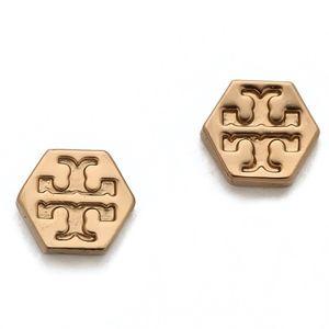 NWT~TORY BURCH~ROSEGOLD Hexagon Logo Stud Earrings